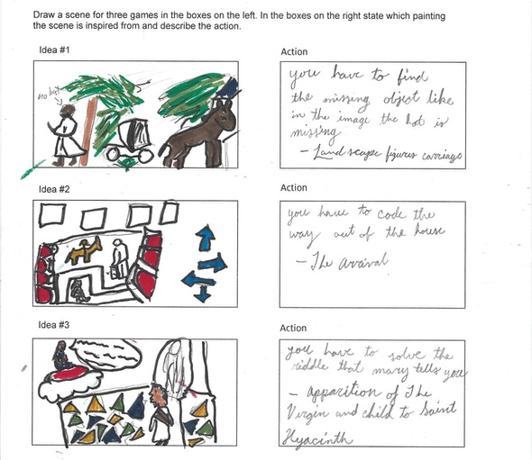 <p>Video Game Storyboard by Kelsey M., 5th grade, St. Mary Interparochial School</p>