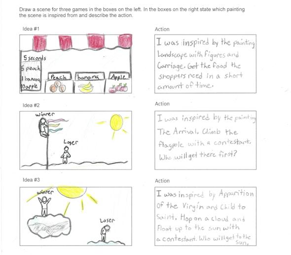 <p>Video Game Storyboard by Luna S., 5th grade, St. Mary Interparochial School</p>