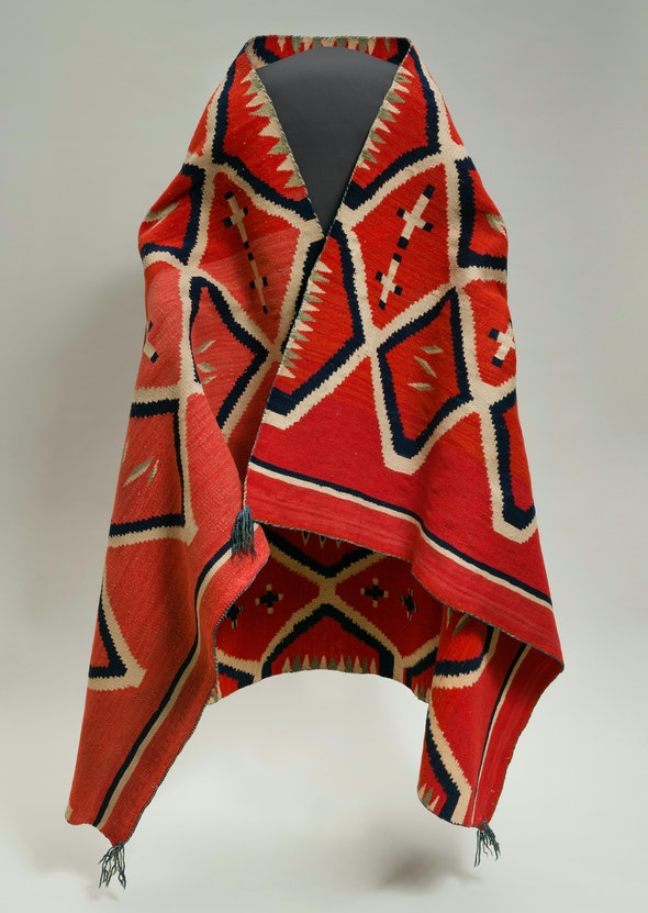 Red wool Navajo serape with diamond motif
