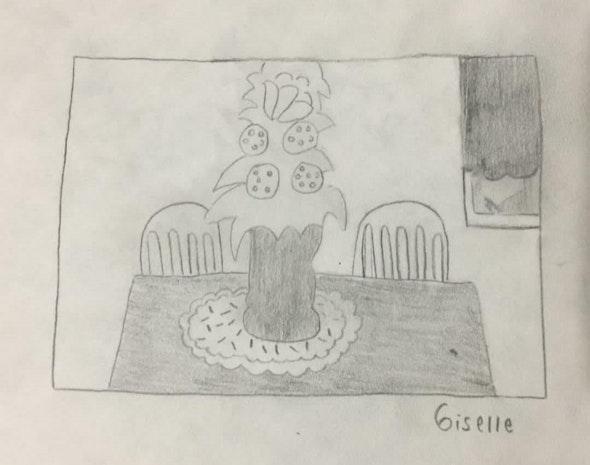 <p><em>Flower on a Table</em> by Giselle G., 6th grade, Universal CS – Vare</p>