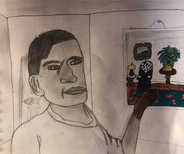 <p><em>Escaping into Color </em>by Syra P., 6th grade, Universal CS – Vare</p>