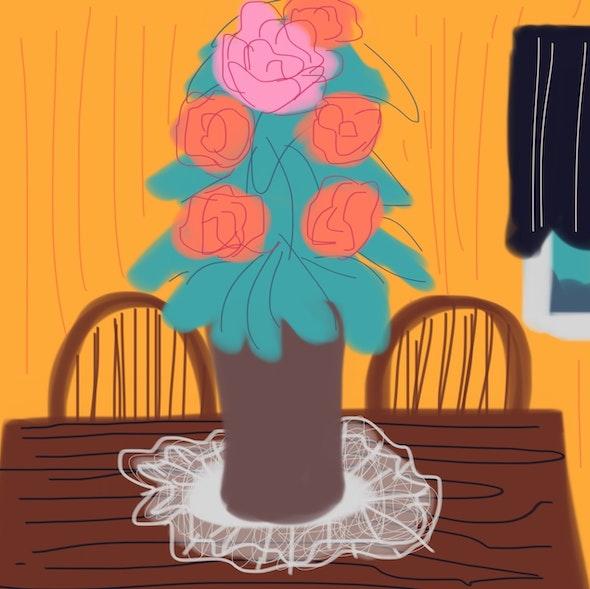 <p><em>Floral Still Life</em> by Tyler D., 7th grade, Universal CS – Vare</p>