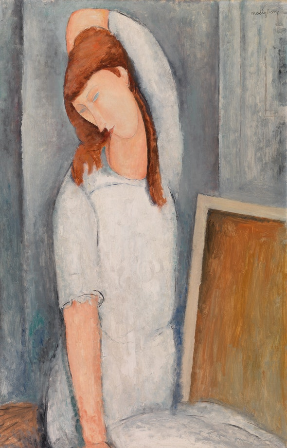 A portrait of Modigliani's lover, Jeanne Hébuterne, wearing a white dress.