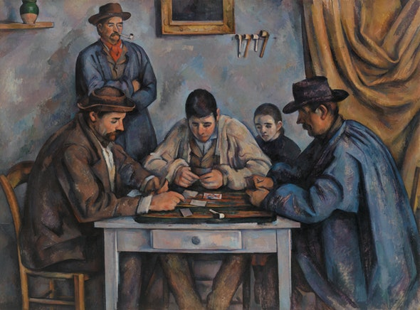 In a painting by Cézanne, three men are hunched over a table playing cards.