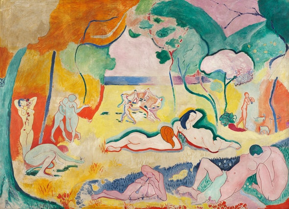 In this painting by Matisse, nude bodies of women and men relax in a landscape drenched with vivid color.