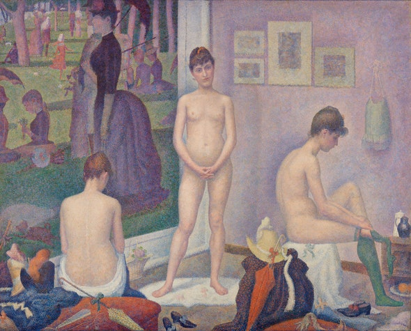 Seurat depicts three models in the process of getting undressed.