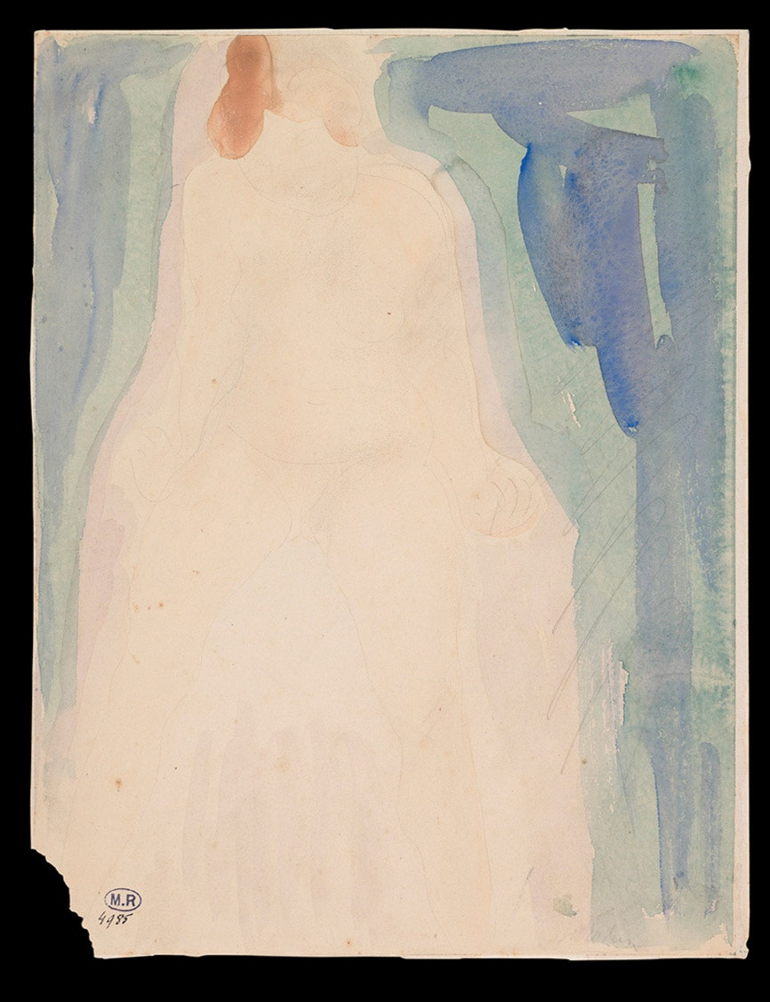 This watercolor by Rodin shows the outline of a nude female.