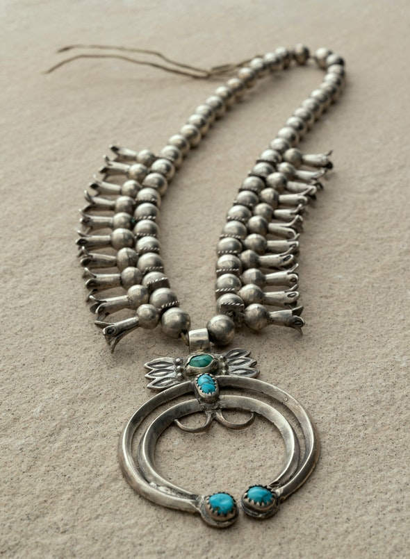Silver necklace with turquoise pendant