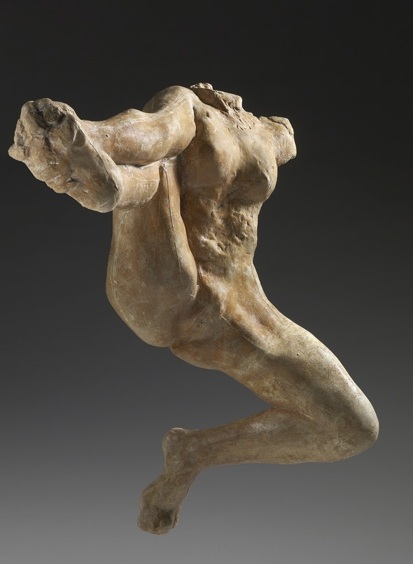 Made of plaster, this headless sculpture of Iris, messenger of the gods, extends its legs in midflight.