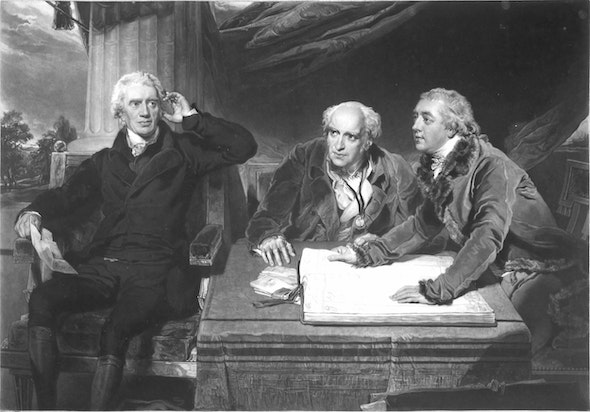 <p>Famous banker Sir Francis Baring (left) acquired the painting sometime after 1795; it may have been a gift from his son-in-law.</p>